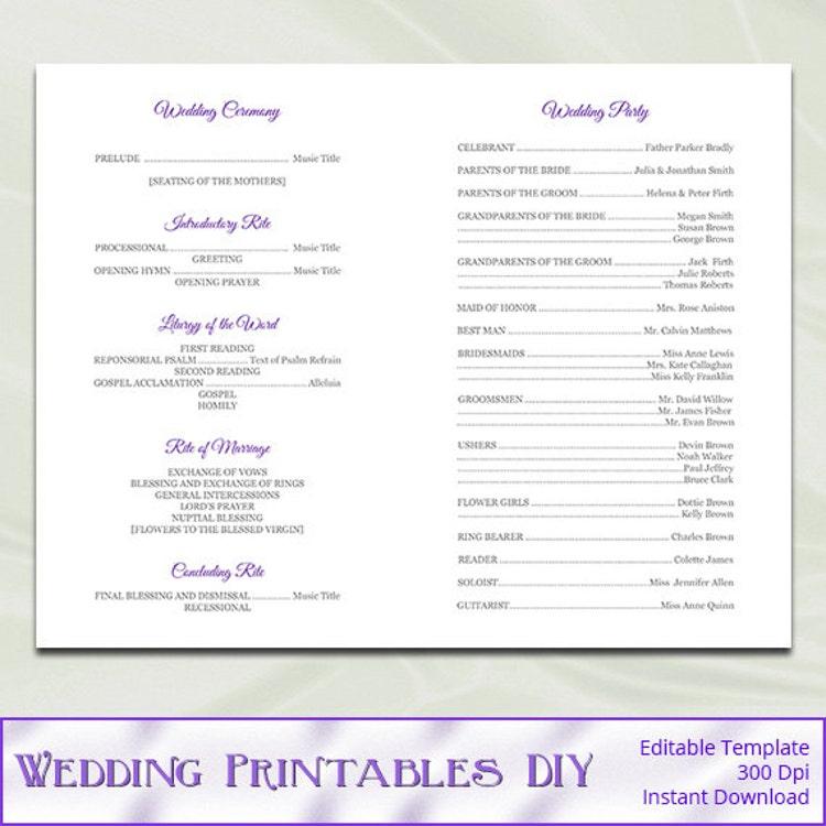 Catholic Wedding Vows: Catholic Wedding Program Template Diy By WeddingPrintablesDiy