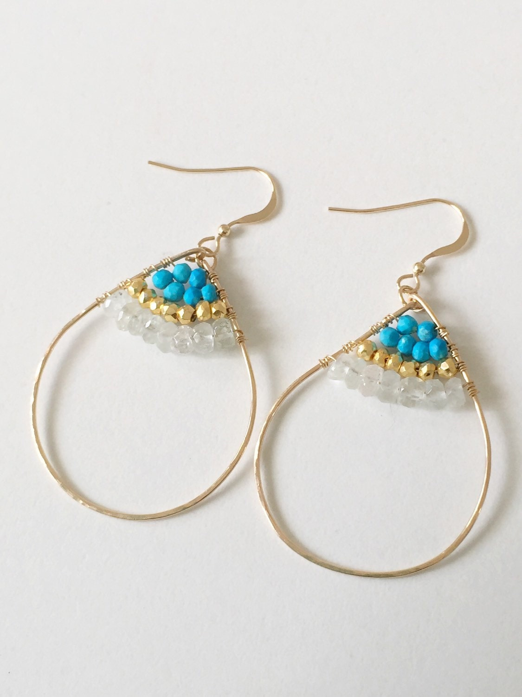 sedona turquoise 14k gold fill hand hammered hoop earrings. Black Bedroom Furniture Sets. Home Design Ideas