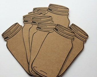 Ten Large Mason Jar Gift Tags, Made From Buff / Kraft Card.