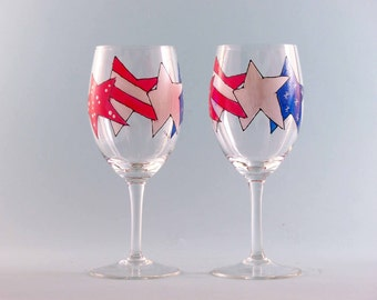 Hand Painted Patriotic Wine Glasses - 4th of July Wine Glasses