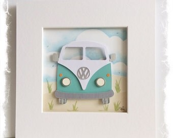Mount board frame with 3D papercut VW Camper Van / VW Bus (Turquoise)