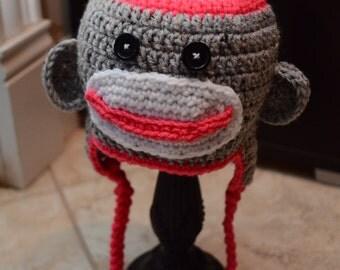 Crochet Monkey hat, Crochet Sock Monkey, Sock Monkey Hat, Boy Sock Monkey Hat, Girl Sock Monkey Hat