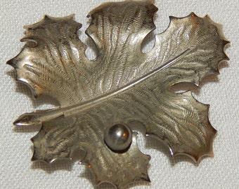 Vintage Brooch - Oak Leaf, Signed Giovanni, Pewter Tone