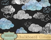 Chalkboard Clouds Clipart Set - High Resolution PNG Clip Art, commercial use, instant download