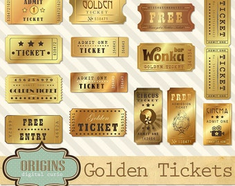 Golden Tickets Clipart - Vintage Show, Circus, Cinema, Theatre, Movie and Entertainment Clip Art, Willy Wonka Gold Ticket