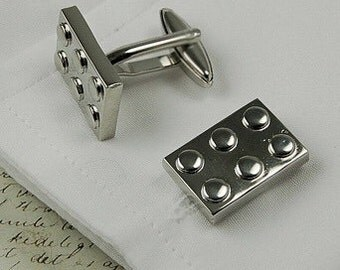 Solid Premium Lego Cufflinks, Silver - Highest Quality - Gift Boxed - UK - Wedding