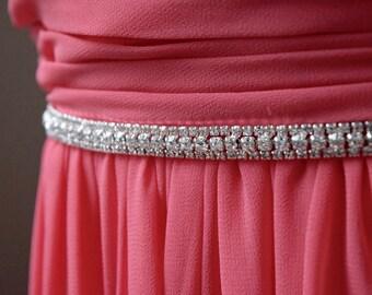 Thin Crystal Rhinestone Bridal Belt/ Bridesmaids Belt/ Hair Band - EYM B029