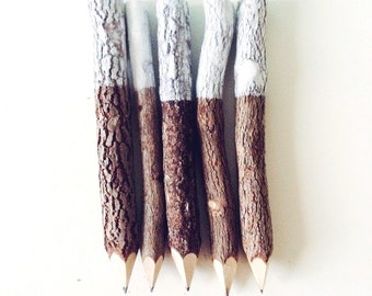 White Dipped Rustic Wooden Twig Pencils (x5)
