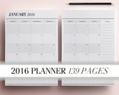 2016 Planner Pages A4/A5, Printable Daily Planner Pack including: Weekly Planner Monthly Planner Yearly Planner To Do List INSTANT DOWNLOAD