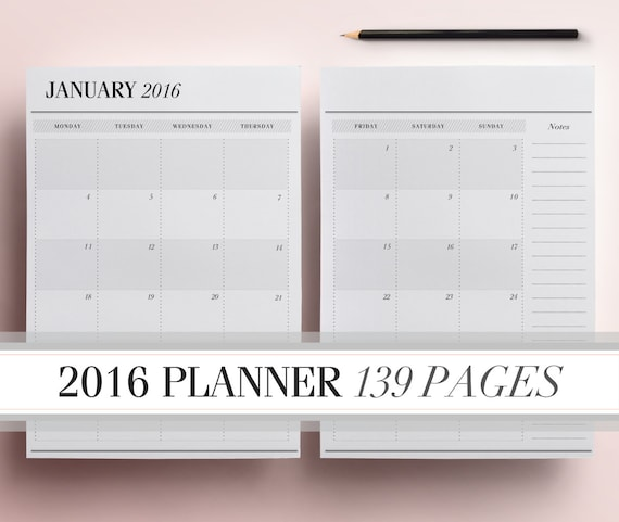 2016 Planner Pages A4/A5, Printable Daily Planner Pack including ...
