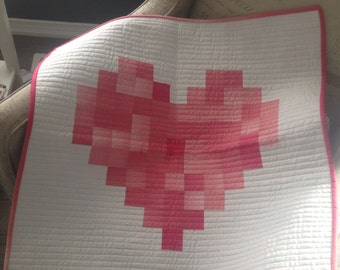 Custom full size 65x65 heart quilt