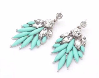 Mint Green Over sized Crystal Dangle Statement Stud Earrings