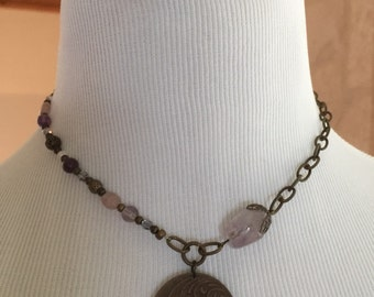 Natural Brass and Amethyst Necklace