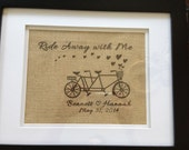 Custom Tandem Bicycle Burlap Sign - perfect for wedding and engagement gifts!