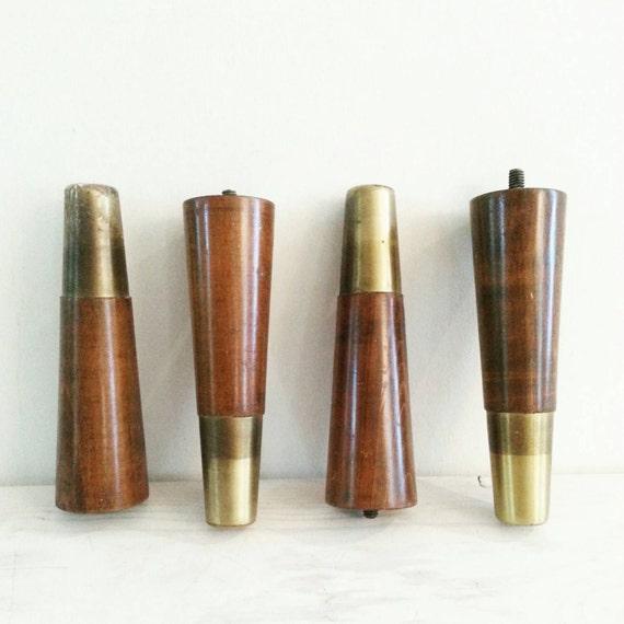 Mid Century Modern Furniture Legs 4 Vintage Brass And Wood