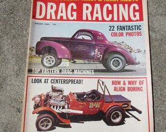 Vintage January 1965 Drag Racing Magazine