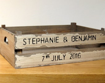Large rustic personalised crate with your name and date or short message Wedding