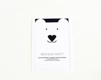 Customizable bear birthday party invitation, writable file .doc, children invitation DIY, digital file instant download