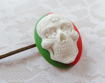 Groovey Green And Red Sugar Skull Hair Clip
