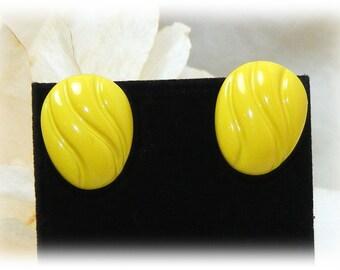 "Vintage ""YELLOW STUD EARRINGS"" . . Bright Yellow   (pierced)"