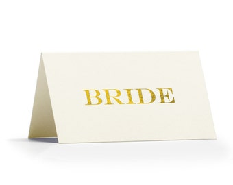 Gold Personalised Place Cards - Real Gold Foil Place Cards - Place Cards for Weddings or Events by Paper Charms