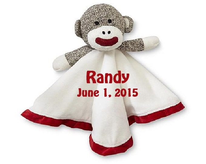 Sock Monkey Lovey Snuggle Buddy Comfort Security Bear Security Blanket Crib toy in White - Personalized