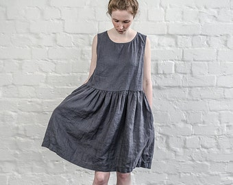 Linen dress. Charcoal / warm black or deepest black linen loose fitting dress