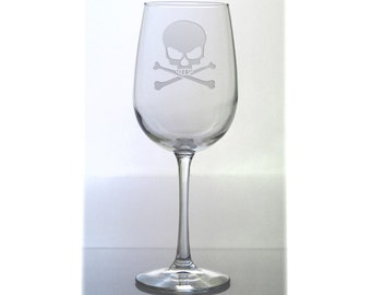 Skull Wine Glass / Free Personalization / 16 oz Skull Wine Glass / Skull and Cross Bones Wine Glass / Personalized Glass / Personalized Gift