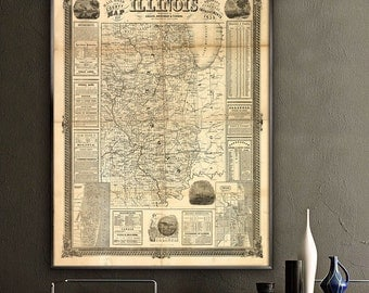 """Map of Illinois 1854, Old Illinois map, 4 sizes up to 36x48"""" vintage Illinois state map poster, in beige or blue - Limited Edition of 100"""