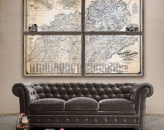 """Map of Kentucky and Tennessee 1861, Old Tennessee & Kentucky map, 5 sizes up to 80x60"""", 1 or 4 parts KY TN map - Limited Edition of 100"""