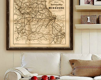 "Map of Missouri 1888, Missouri state map in 4 sizes up to 36x30"" Vintage Missouri map, also in blue - Limited Edition of 100"