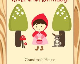 Red Riding Hood digital birthday party invitation