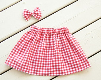 Red Gingham Picnic Skirt – You Choose Size