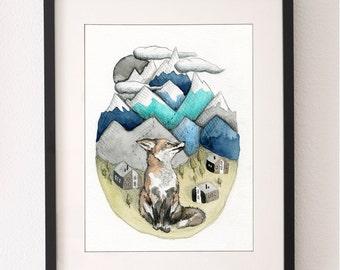 A4 Fox Mountain Print, Fox, Fox Print, Art Print, Nursery Art, Mountains, Wall Art, Water Color, Water Colour Fox, Mountain