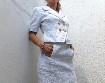 Vintage 80s Guy Laroche suit white