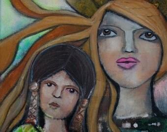 SALE: Stargazers, Original Mixed Media Canvas 11x14