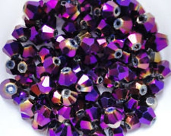 Purple AB  Swarovski 4 mm bicone bead 30 beads