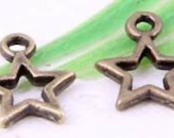 Bronze star charm 10 charms
