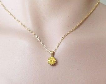 20% off-SALE! Citrine necklace - November Necklace - Tiny Crystal - Vintage Necklace - Simple Necklace - Gold Necklace