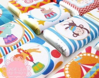 Custom Printable Carnival Circus Themed Birthday Shower Party Mini Chocolate Wrappers