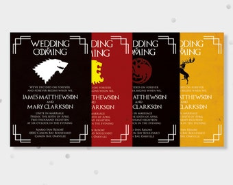 Printable Game of Thrones Wedding Invitations and RSVP--Choose your Family Crest,  Geekery Invite, Digital Download, PDF