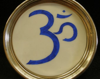 """Sterling Silver Om Symbol YOGA Coaster One-of-a-Kind 4-1/2"""" Pin Dish Trinket Tray - LQQK, I Can Make Many Symbols, Characters, & Calligraphy"""