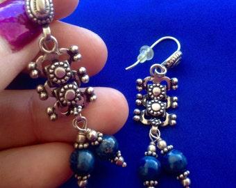 79} 925 Sodalite Dangling Earrings