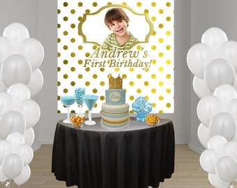 Gold Polka Dots Party Personalize Photo Backdrop - Birthday Photo Cake Table Backdrop Birthday- Sweet 16th Photo Backdrop
