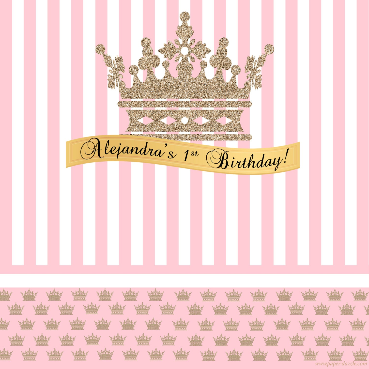 Gold Crown Pink Party Personalized Backdrop Princess Baby