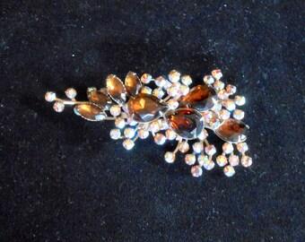 Brooch Spray of Topaz & Aurora Borealis Crystals Vintage circa 1980's