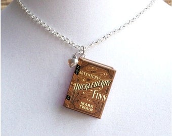 Huckleberry Finn with Tiny Heart Charm - Miniature Book Necklace