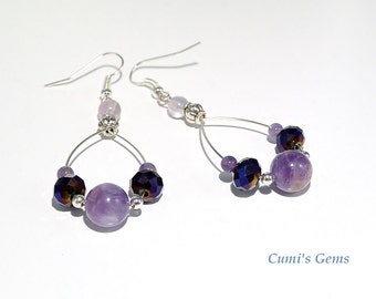 Amethyst earrings, birthstone jewelry, February stone, Statement, boho chic earrings, teardrops dangle,gift for her,birthday, Ready to ship