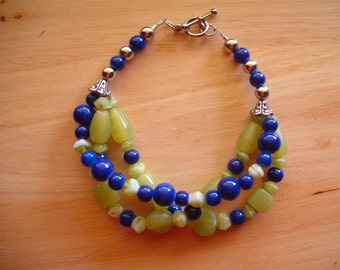 Green and Blue Three Strand Bead Bracelet