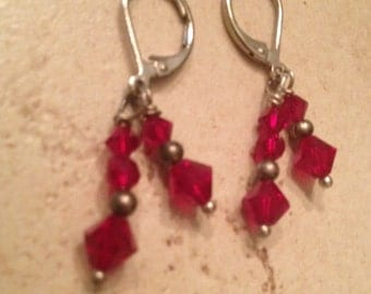 Vintage Earrings Red Crystal Dangle Costume Jewelry